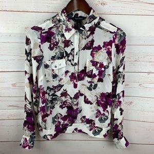 WHBM   Silk Cream Purple Gray Floral Print Blouse